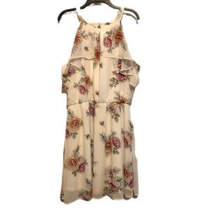 Maurices Dress Floral White Pink Ruffled Size XXL